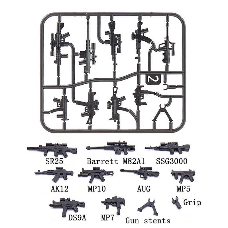 MOC الأسلحة العسكرية بندقية حزمة مدينة الشرطة Swat LegoING الجيش WW2 الجنود الطوب الاكسسوارات PUBG اللبنات أجزاء الاطفال اللعب