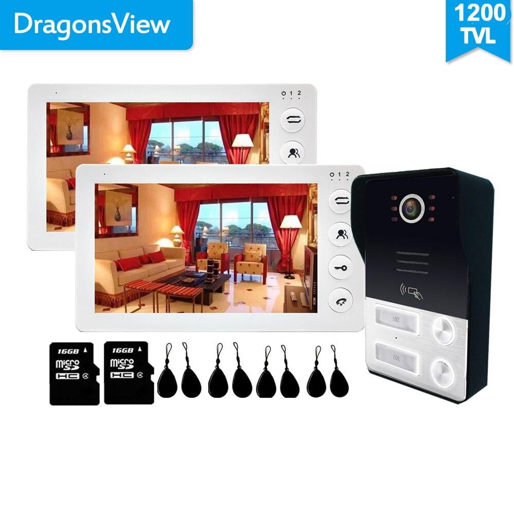 Dragonsview-visiophone pour 2 appartements avec 7 pouces, interphone vidéo, enregistrement vidéo, carte SD, ouverture au sol/noir