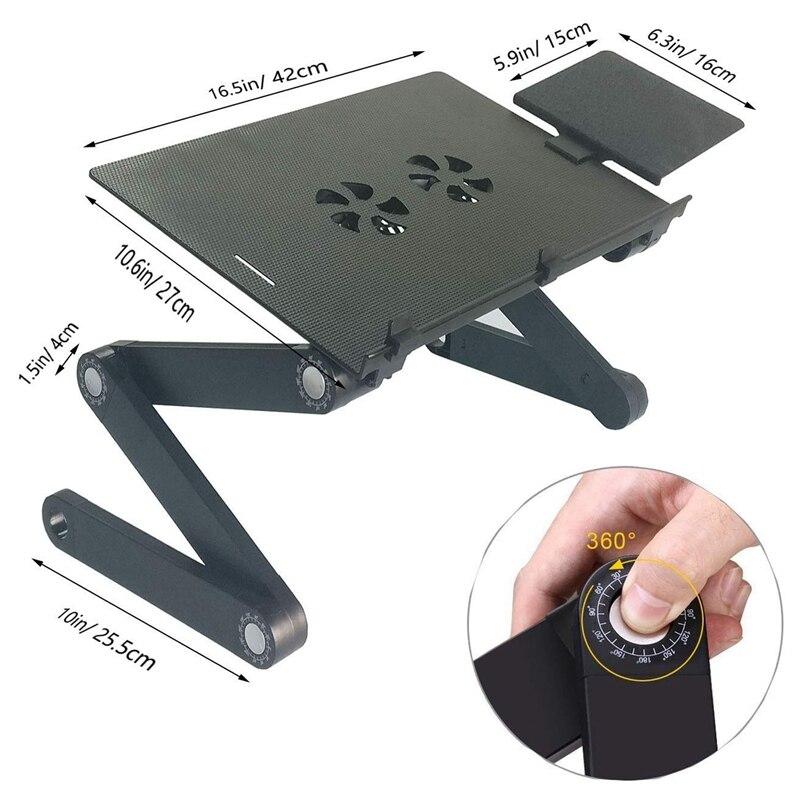Support d'ordinateur Portable pour lit et canapé bureau confortable table ajustable pour d'ordinateur Portable Portable debout/assis avec 2 ventilateurs de refroidissement Cpu et tapis de souris - 2