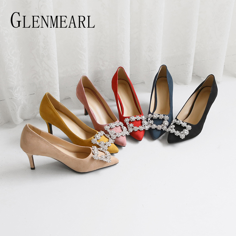 Women Pumps Rhinestone Female High <font><b>Heels</b></font> Women Shoes Pointed Toe Dress Shoes Soft Thin <font><b>Heel</b></font> Wedding Shoes 2020 New Arrival DE image