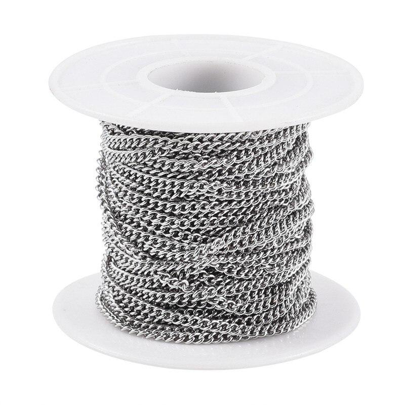 10 м/рулон несварные 304 нержавеющая сталь панцирного плетения цепи звено цепи для самостоятельного изготовления ювелирных изделий браслет р...