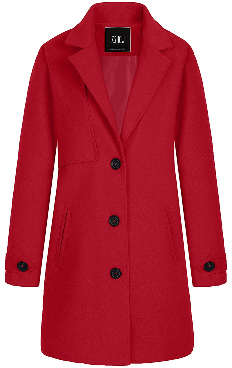 Women's Single Breasted Solid Color Classic Pea Coat