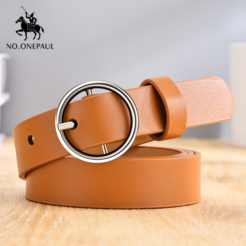 NO.ONEPAUL High Quality Ladies Leather Belt Fashion Jeans Dress Wild Round Alloy Pin Buckle Soft Leather Comfortable Small Belt