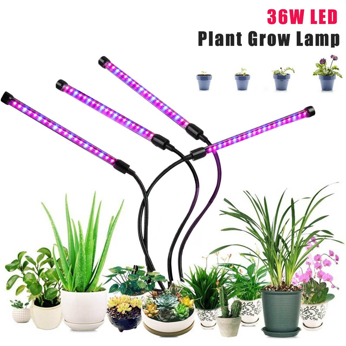LED Grow Light 36W 5V Dimming Timed Plant Growth Light For Indoor Vegetable Flower Plant USB Power Full Spectrum Grow Lamp