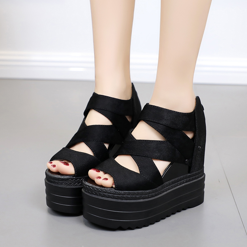Lucyever Gladiator Sandals Shoes Platform Open-Toes Casual Wedges Super-High-Heel Thick