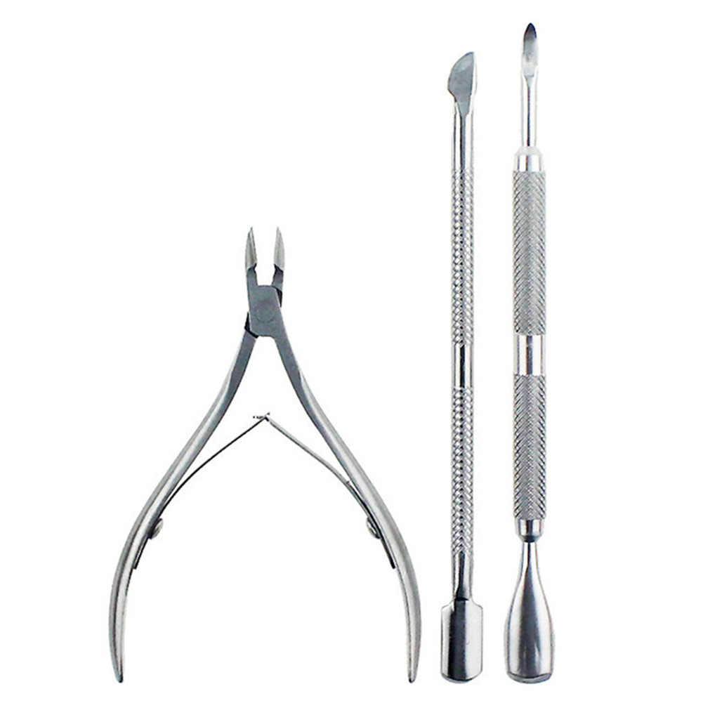 3pcs Schaar Trimmer Rvs Teennagel Nail Pusher Tool Clipper Voor Vingernagel Cuticle Nipper Set Cutter Dode Huid Remover