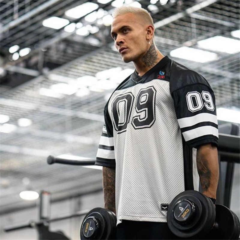Nova moda roupas de musculação tshirt masculina respirável manga curta camisa de fitness ginásios solto t casual verão topos moletom