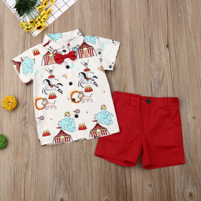 US Xmas Boy Kids Formal Gentleman Animal Romper Shirt Tops Strap Pants Clothes