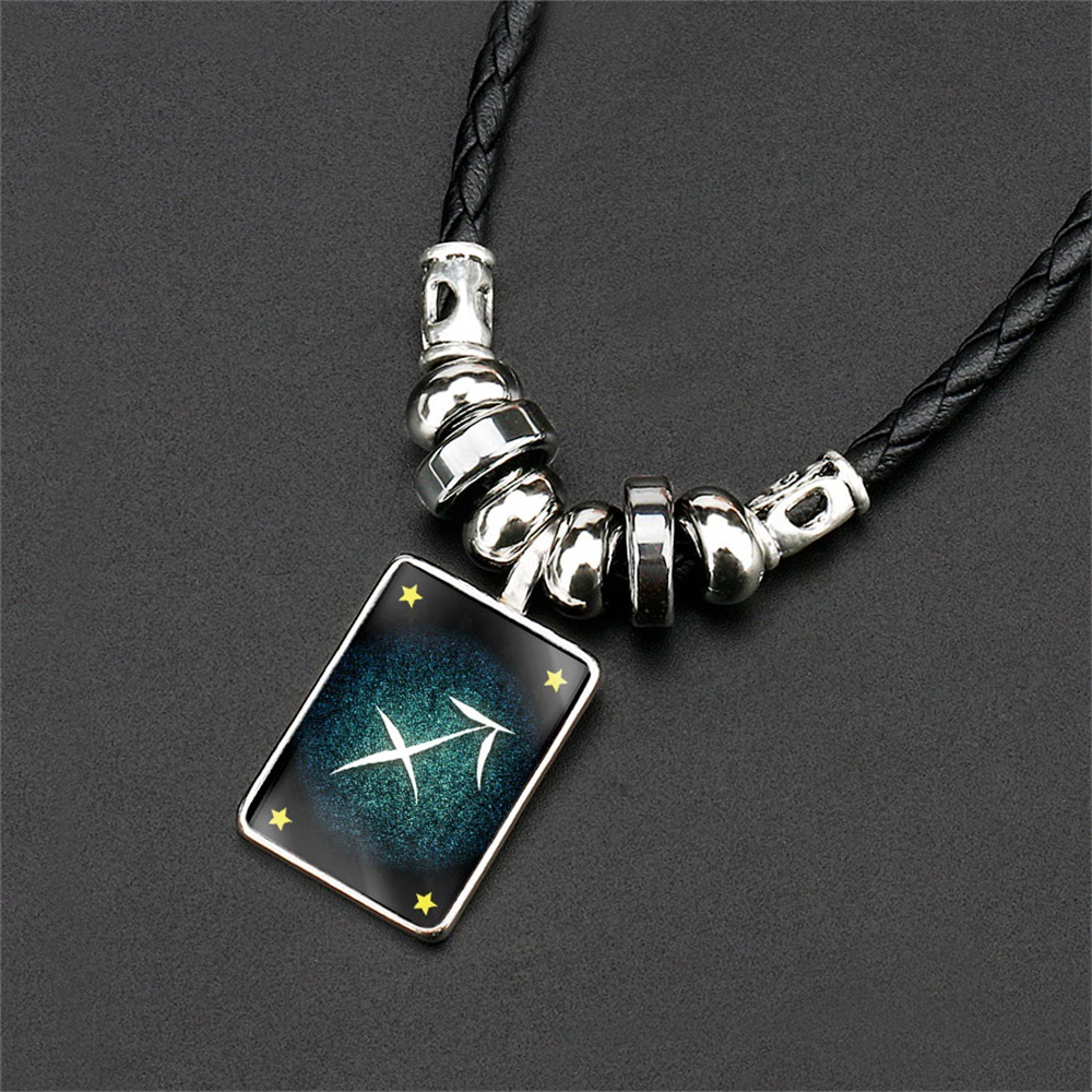 Hot Selling Accessories Night Sky-Men Obsidian Chinese Zodiac Necklace Fashion Black Lanyard Pendant Necklace