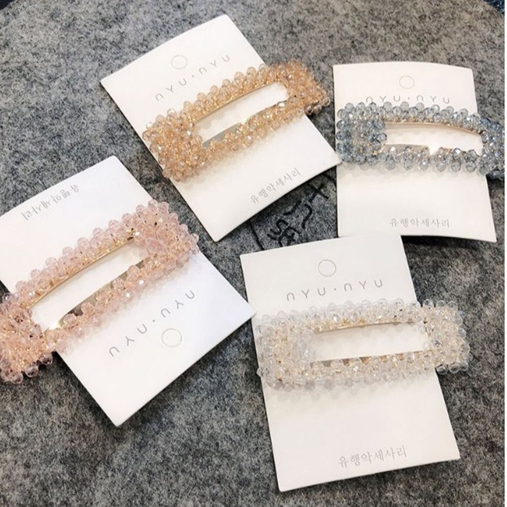2019 Korea Shiny Crystal Hairpins Geometric Rectangle Waterdrop Imitiation Pearl Hair Clips Styling Tools Accessories For Women