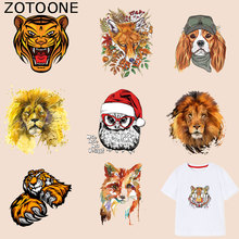 ZOTOONE Lion Patch Animal Dog Owl Tiger Stickers Iron on Patches for Clothing T-shirt Heat Transfer Diy Accessory Appliques G