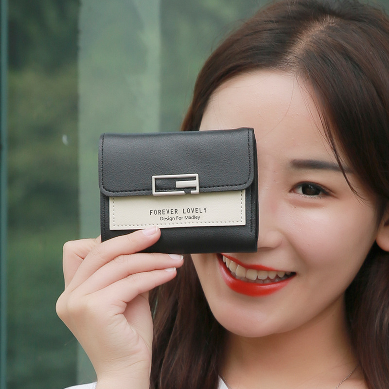 HZ125 NEW women's wallet short wallet ladies wallet letter purse ladies and women's buckle wallet card package