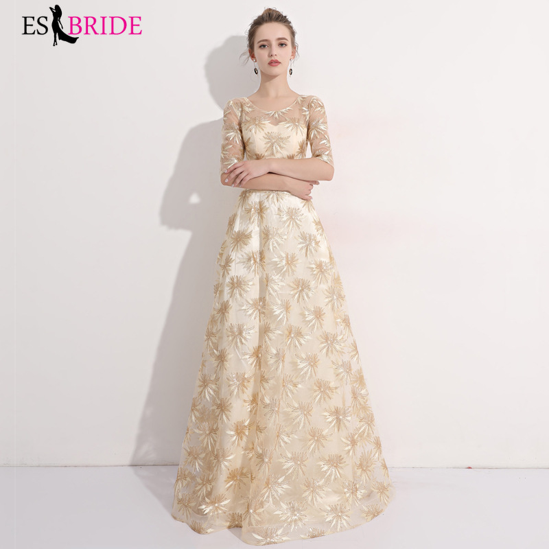 Sequined Prom Dresses ES30055 A-Line Gold V-Back Sequined Tulle Sexy Evening Party Gowns Vestidos Largos Fiesta