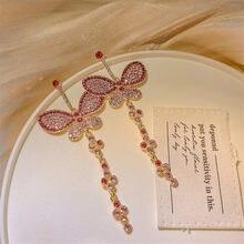 FYUAN Rosa Farfalla di Cristallo Ciondola Gli Orecchini per Le Donne 2020 Lungo Nappa Orecchini di Strass Matrimoni Del Partito Gioielli Regali