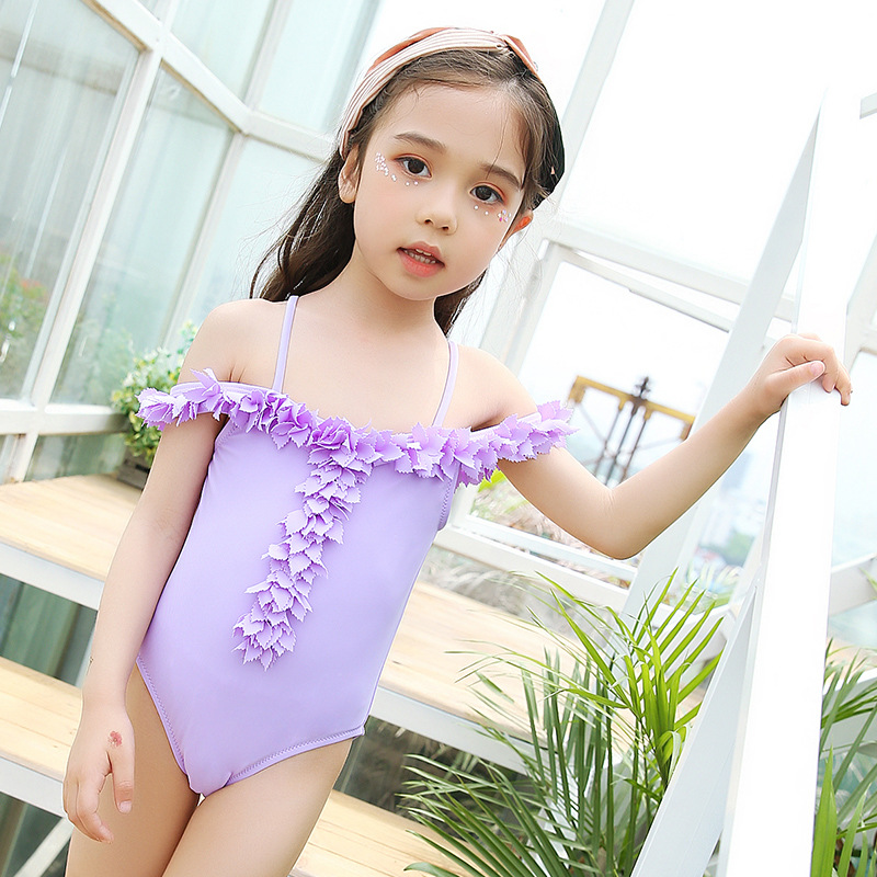 South Korea New Style Children Siamese Swimsuit GIRL'S Small CHILDREN'S Baby Cute Sexy Off-the-Shoulder Students Catwalks Perfor