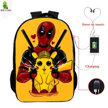 Pokemon Detective Pikachu Usb backpack 16 inch school backpacks for teenagers boysgirls laptop package