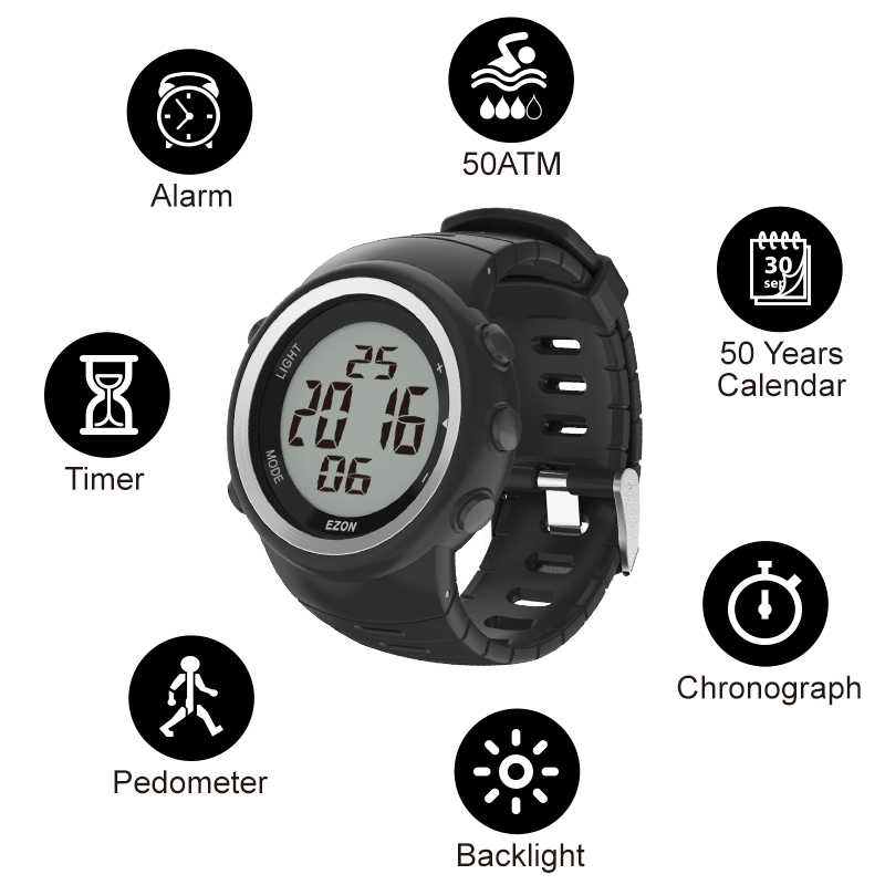 Saatler'ten Dijital Saatler'de Dijital spor izle erkek açık koşu pedometre ve çok fonksiyonlu çalar saat kronometre su geçirmez 50M EZON T023C11'da  Grup 2