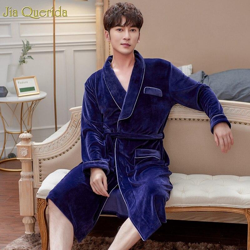Luxury Men Home Clothing Winter Sexy Bathrobe Quality Sleepwear Long Sleeve Plus Size Kimono Robe Velvet Night Gowns Men Kimono