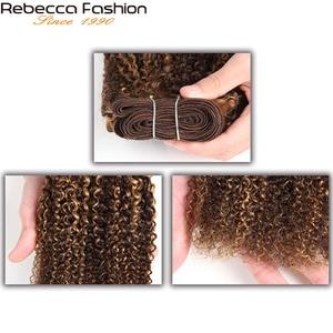 Image 2 - Rebecca Remy İnsan saç 100g brezilyalı Afro kinky dalga saç örgü demetleri karışık sarışın ön renkli Salon için saç ekleme