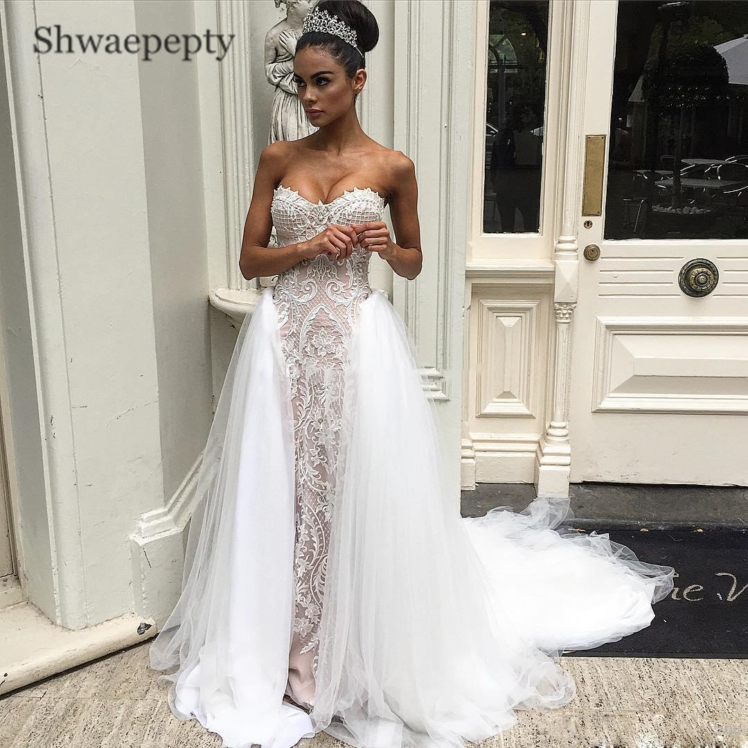 Shwaepepty Strapless Lace Wedding Dresses With Detachable Train Overskirts Appliques Sweetheart Bridal Gowns Vestidos de Novia