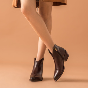 Image 2 - BeauToday קרסול מגפי נשים אמיתי פרה עור שעווה מחודדת הבוהן Med העקב נעלי רוכסן אופנה ליידי מגפי בעבודת יד 03293