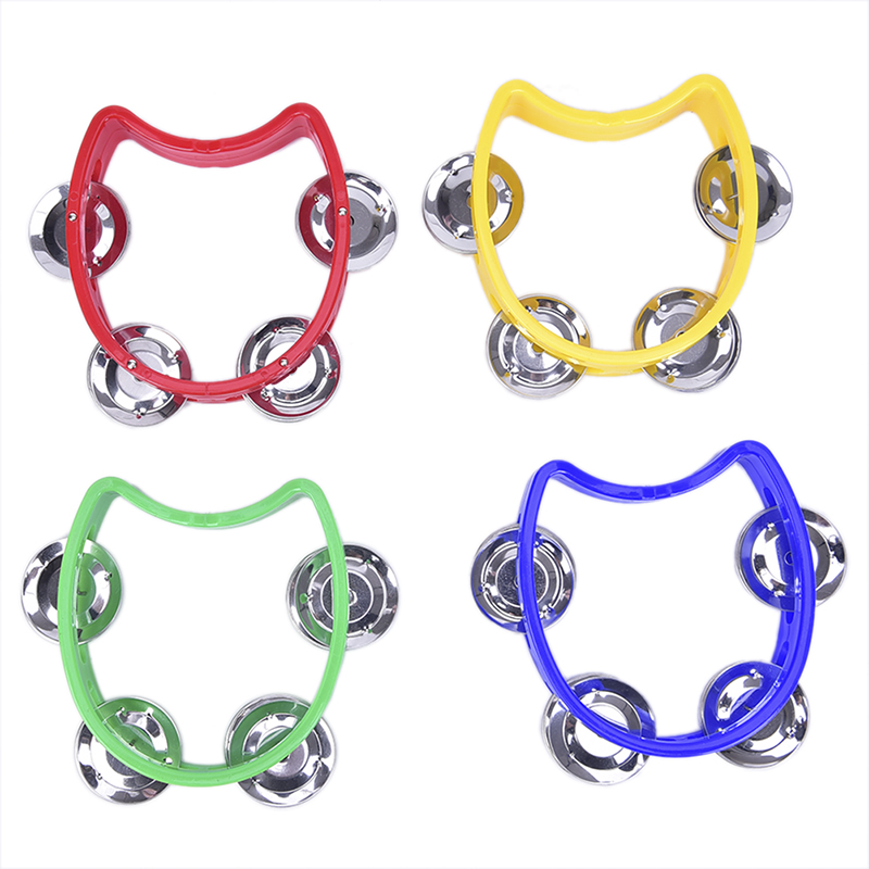 Hand Held Tambourine Metal Bell  Plastic Rattle Ball Percussion For KTV Party Kid Game Toy Musical Instrument