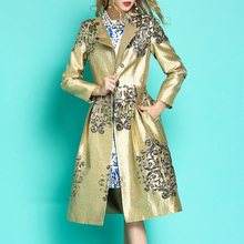 2019 Spring Fall Fashion Korean Women Dobby Floral Golden Long Coat , High Waisted Pleated 5xl