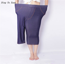 Super Stretch 3/4 Legging Women Sheer Fake Jeans Leggings Slim High Waisted Jegging Femme Plus Big Size Short Pants XXXL 4XL 5XL