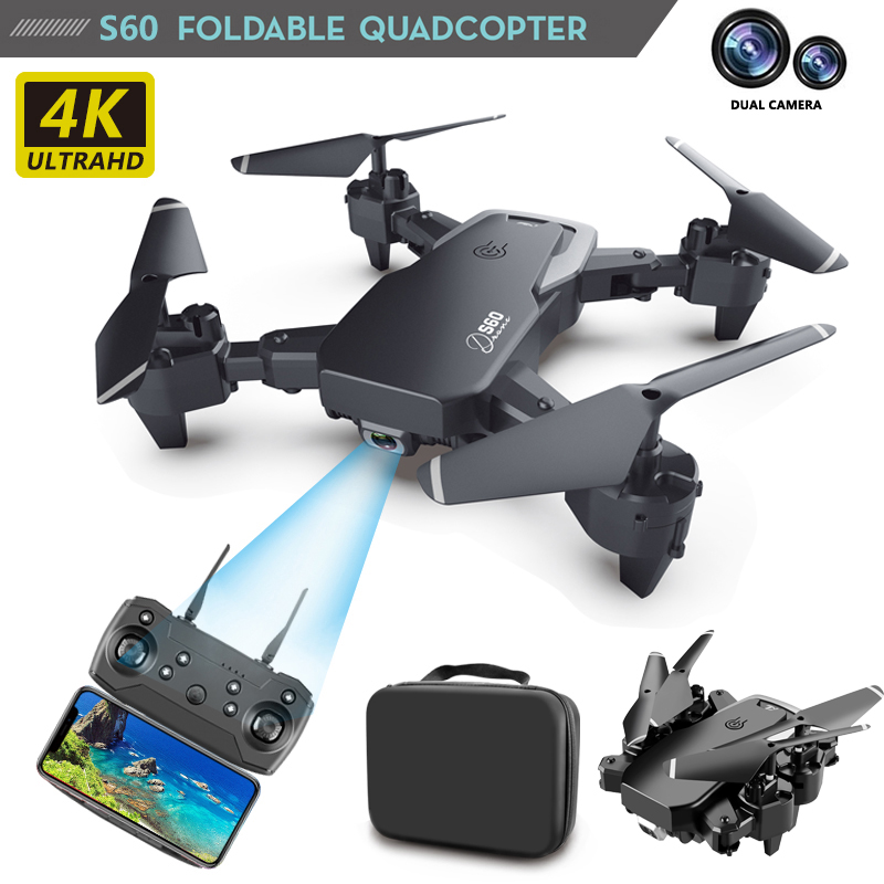 RC 4K hd wide-angle camera Quadcopter, 1080p WiFi FPV dual camera S60 realizes intelligent flight tracking of remote control uav