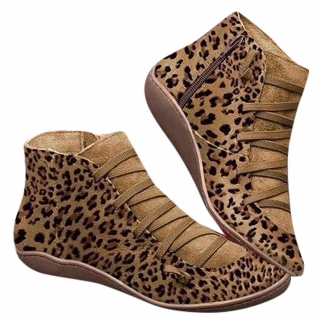 Bayan yeni rahat sonbahar kış düz çizmeler leopar baskı dantel-up fermuar yuvarlak ayak ayakkabı kadın ayak bileği patik isıtıcı yürüyüş botları