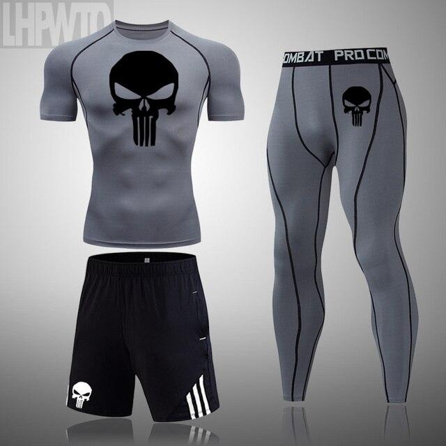 Conjunto do crânio dos homens mcurta camisa espaptadas roupas fitness halterofilismtando terno
