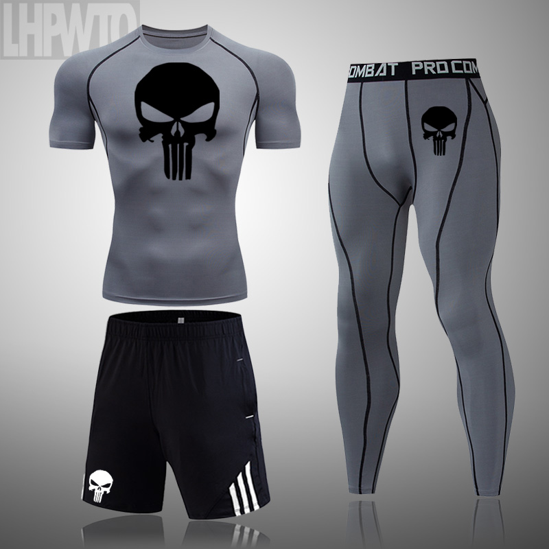 running - Men Skull Compression set Costume MMA Gym T-shirt Men Tracksuit Tights T shirt Fitness leggings Bodybulding Punisher Running Set