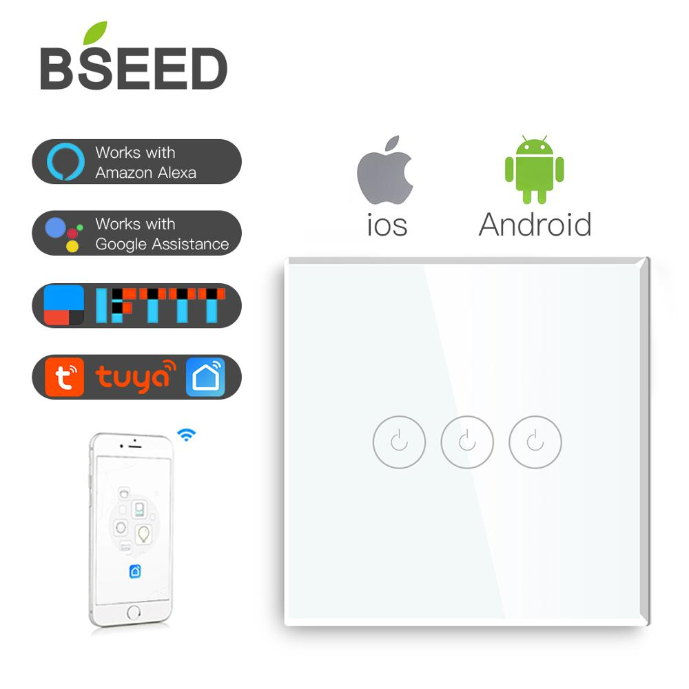 BSEED 3 Gang Light Touch Switch Wifi Smart Wireless White Black Golden Colors Support For Tuya Google App