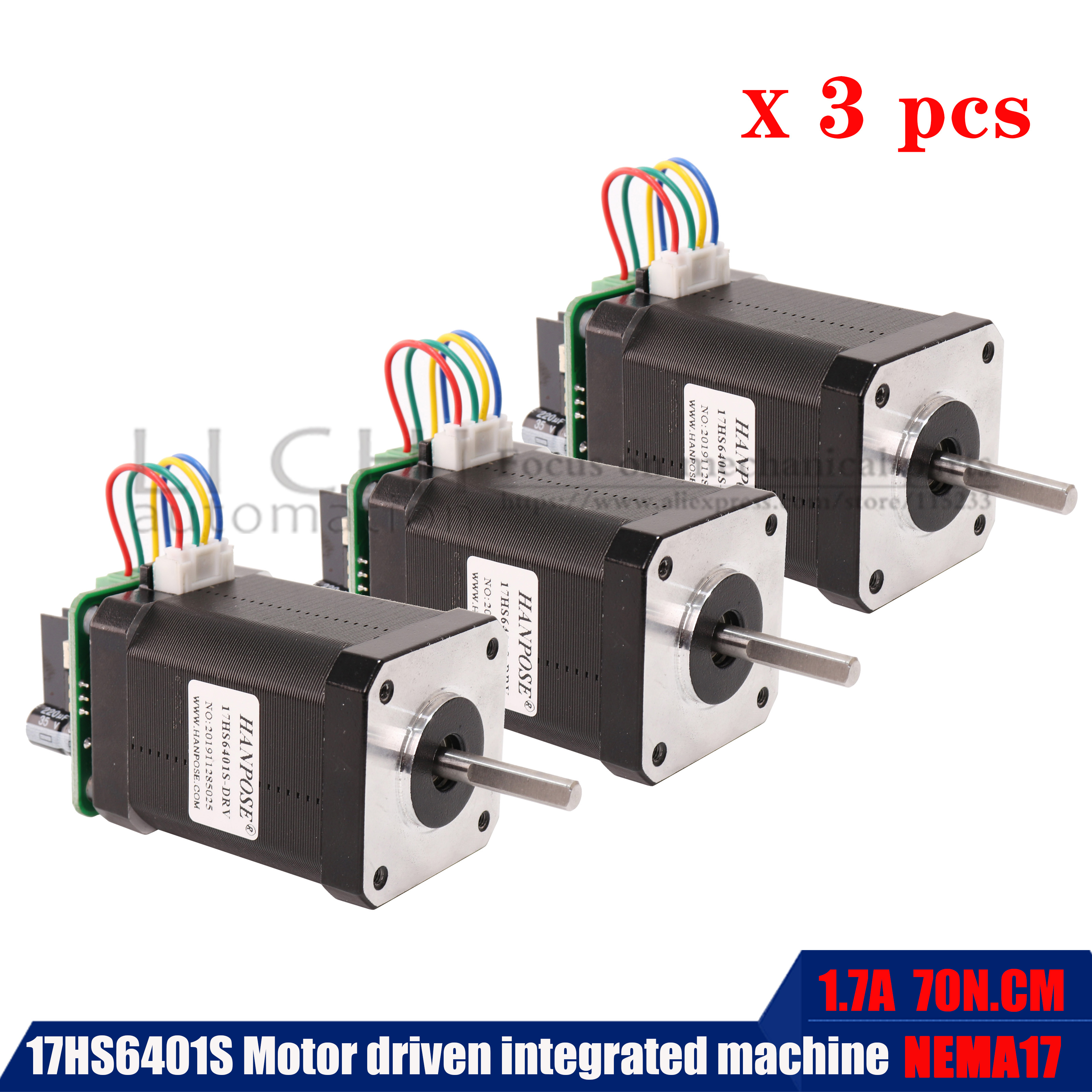 New 3PCS 17hs6401 High Torque70n.cmStepper Motor 60MM  Four Wire NEMA17 Stepping Motor With Micro Back Driver