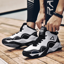 цена на New Unisex Breathable Leather Indoor High-top Basketball Shoes Women Breathable Comfort Non-slip Wear Men Basketball Sneakers