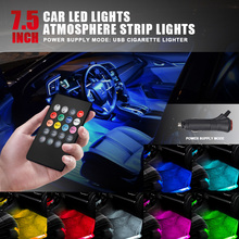 36 LED 12V Car LED Strip Car Interior Decorative Atmosphere Strip Auto Pathway Floor Light Remote Control  Voice-activated Light 4 in 1 9 led car light 12v car interior light remote control led strip lights atmosphere lamp auto decorative light