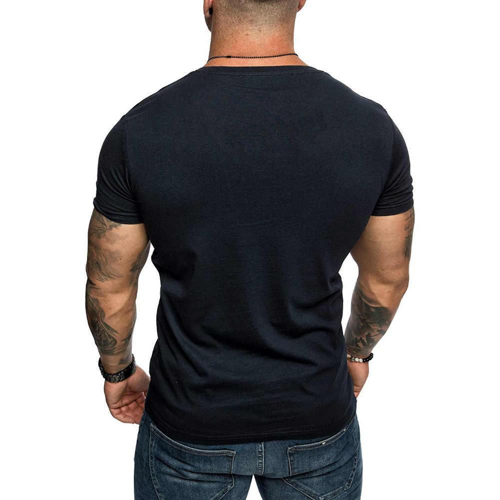 男性の tシャツ 2020 新ファッションカジュアル男性無地半袖 v ネックスリムフィット tシャツブラウストップカジュアルブラウス