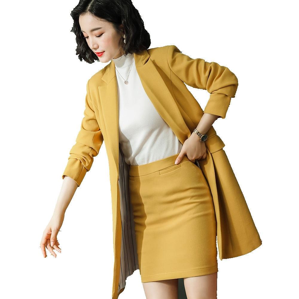 Ladies Elegant Office Wears Dress Suit Women Long Style Jacket Skirt M-4XL Plus Size Synthetic Fabric Work Suit F80808