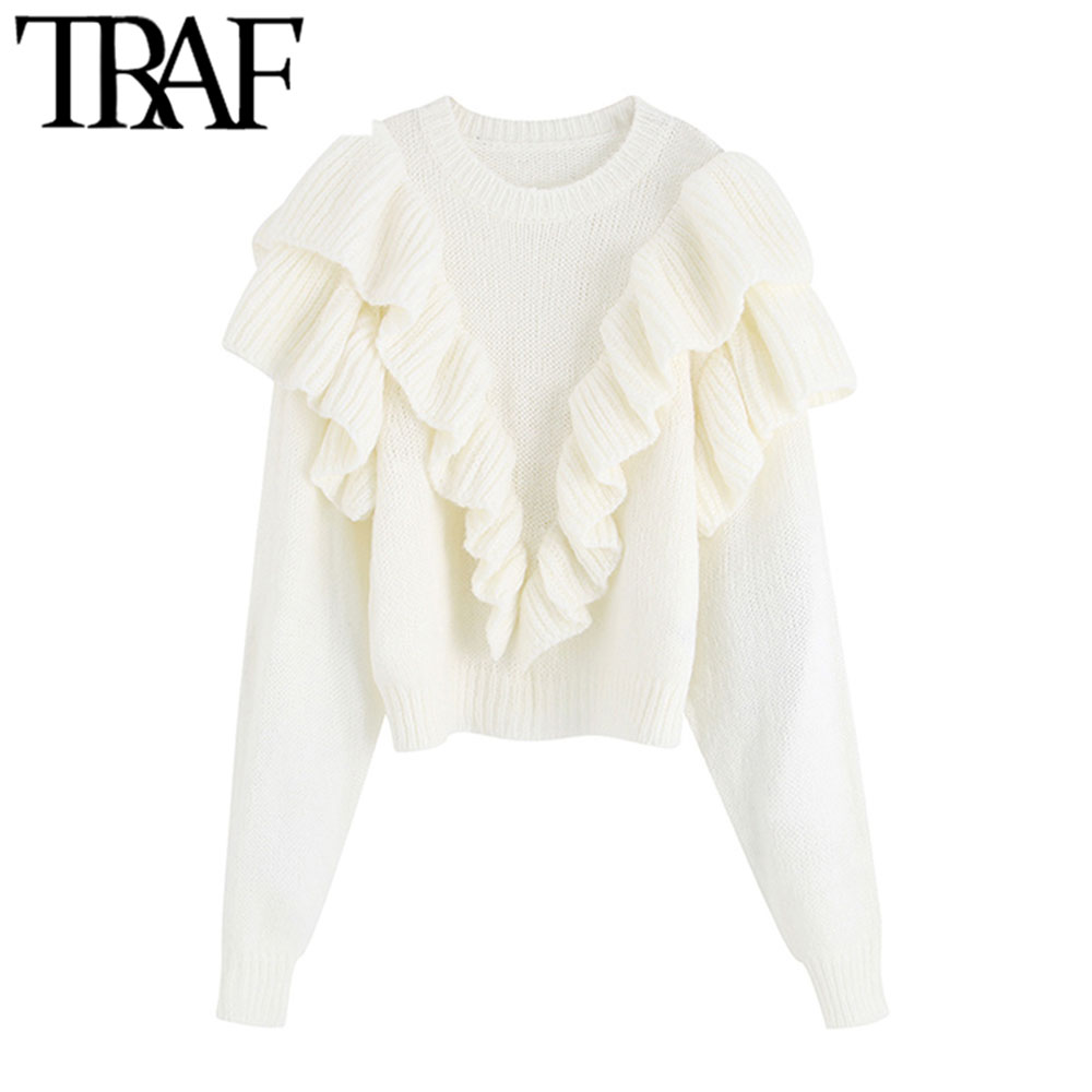 TRAF Women Vintage Sweet Short Style Ruffles Knitted Sweater Fashion O Neck Long Sleeve Female Elegant Pullovers Chic Tops