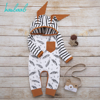 0M-24M White Newborn Infant Baby Girl Boy Hooded Feather Striped Romper Jumpsuit Clothes Autumn And Winter