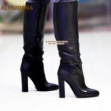 ALMUDENA/черные матовые сапоги до колена на не сужающемся книзу массивном каблуке; женские элегантные высокие сапоги на толстом каблуке; модельные туфли-гладиаторы; туфли-лодочки; размеры 47