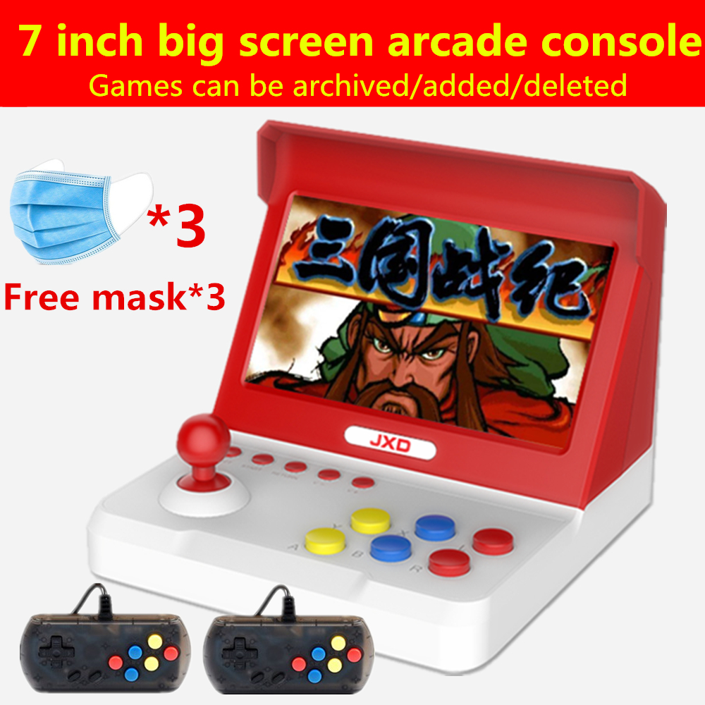 JXD 7.0 inch big screen retro mini arcade console 32GB Built-in 9000 game for cp1/cp2/neogeo/gba/gb/snes/nes/sega/bin handle*2