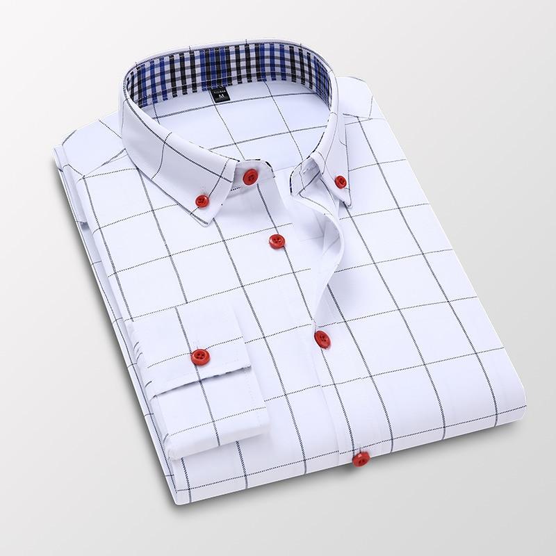Handsome Fashion Men Shirts Casual Long Sleeved Plaid Shirt Regular Fit Male Blouse 4XL 5XL 11