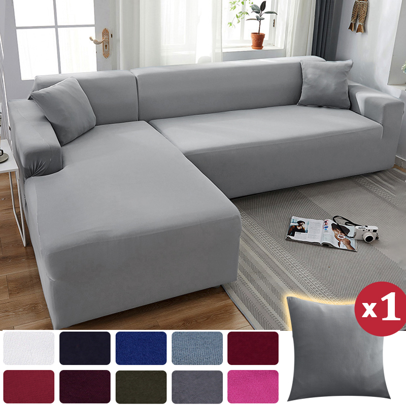 Sofa Cover Elastic Stretch Couch Covers for Sofas Sectional L Shape Sofa Covers for Living room Solid Color Slipcover Anti-dust