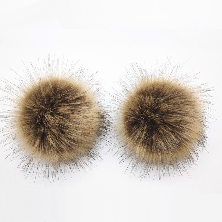 12cm Faux Fur Pom Pom With Snap Button New Fluffy Artificial Hairball Pompoms For Beanies Cap Hat Bag Shoes Accessories