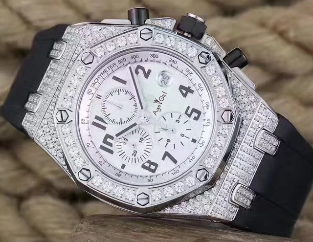 Luxury Brand New Men Watches Chronograph Sapphire Stainless Steel Yellow Gold Luminous Black Brown Leather Full Iced Diamond AAA
