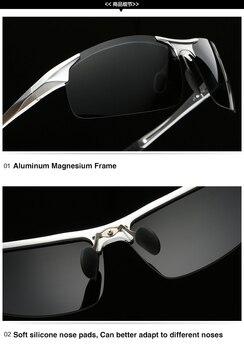 AORON Driving Polarized Sunglasses Men Aluminum Magnesium Frame Sport Sun Glasses Driver Retro Goggles Sunglass UV400 Anti-Glare 2