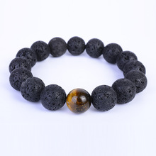 Simple 12 mm Lava Stone Bead Bracelets for Men Classic Elastic Hand Jewelry Gift DropShipping