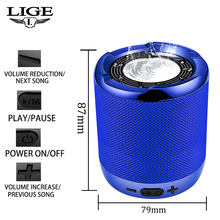 LIGE 2019 New Bluetooth Speaker Portable Sound System 10W Stereo Music Surround Waterproof Outdoor Smart TF USB AUX+Box