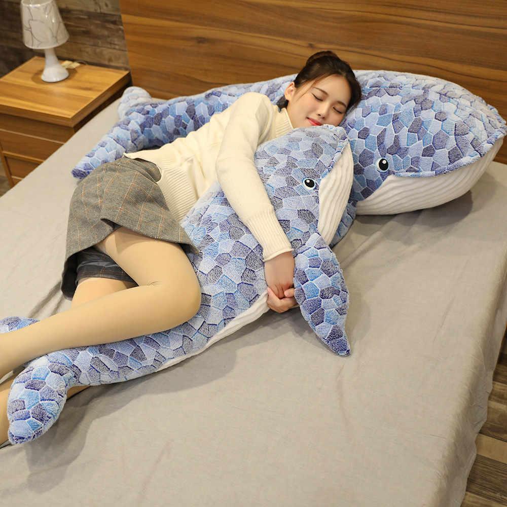 50/110CM nowy Cartoon niebieski rekin wypchane pluszowe zabawki gruba ryba wieloryb dla dzieci miękkie poduszka ze zwierzątkiem lalki prezenty urodzinowe dla dzieci
